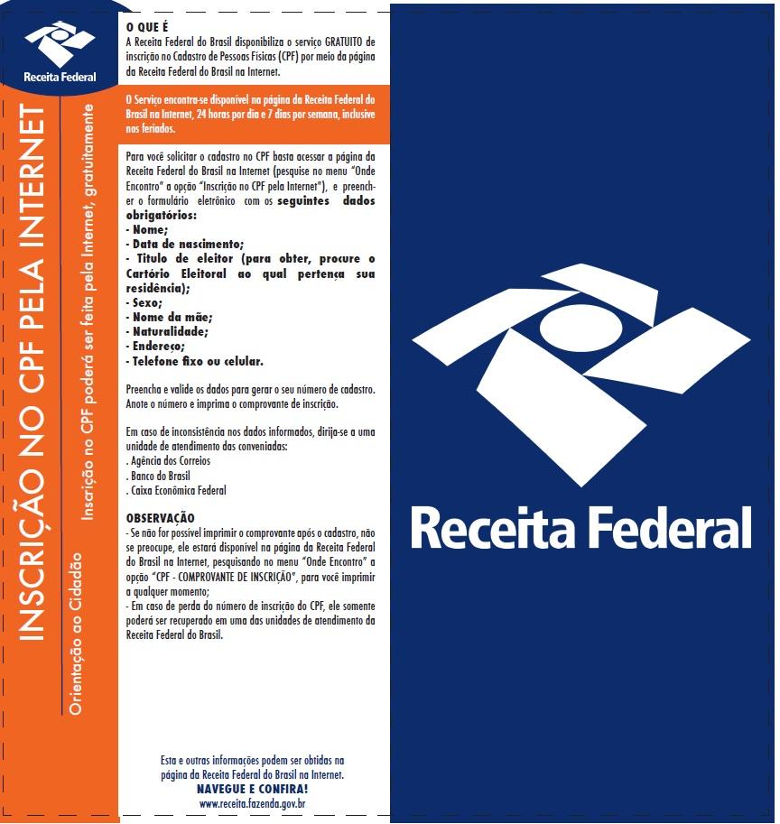 INSCRIÇÃO NO CPF PELA INTERNET